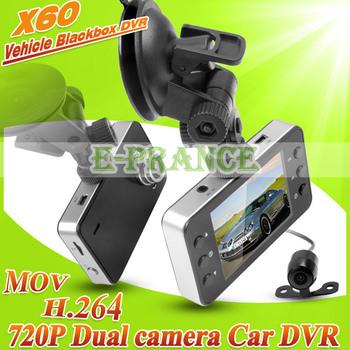 "720P  Dual lens Car DVR +2.7 "" TFT LCD SCREEN+ H.264 +140 wide angle lens + G-sensor Motion Detection"