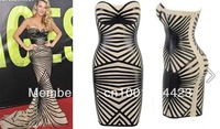 DHL/EMS Free shipping 2013 Newest 'Aysha' black leatherette strapless Bandage Dress