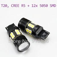 Super Bright 10W T20 CREE R5 12smd led reverse light 12volts Car LED lamp White w21w auto Light 1pair/lot