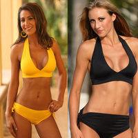 2013 Hot Products Ladies Sexy Striped Bikini Fashion Black Yellow Sexy Bikini Swimwear Women Beachwear Swimsuit Free Shipping