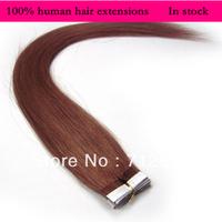 In stock Free shipping 18'' 20''  REMY Tape Skin Weft human hair extension 40g 50g/Set #33 dark auburn