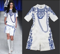 Free Shipping 2013 Fation Top Grade New Arrive Runway Chain Print Blue Dress Women Twinset