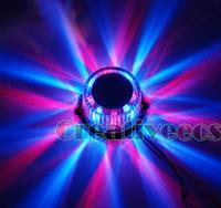 One Motorcycle Bike Round 12V Decorative LED Strobe Flashing Warning Light Lamp Blue Red
