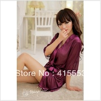 Free shipping 2013 new ice silk sexy nightgown Ms. sexy lingerie