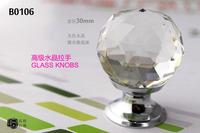 (4pcs/lot) LICHEN B0106-30 K9 Glass Crystal Zinc alloy Clear Furniture Knobs Cupboard handle