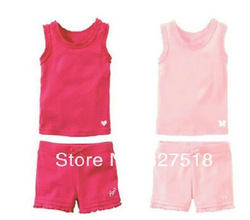 new sleeveless GAD girls' suits 90-130 5sets/lot kids' vest+short=set girl clothing set baby girl summer suit girl wear(China (Mainland))