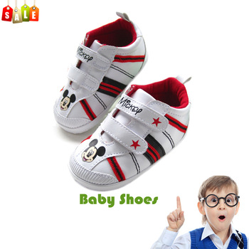 New fashion baby boys cartoon mickey non-slip shoes infant shoes cute prewalker first walkers branded shoes free shipping