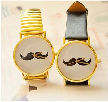 5 pcs /lot  New 2013 Fashion beard watches men mustache women dress watch black and golden colour Free Shipping