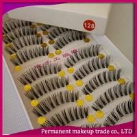 Handmade false eyelashes natural dense lips lengthen transparent false eyelashes 128 10 box-free shiping
