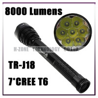 Trustfire J18 TR-J18 SUPER BRIGHT LED Flashlight 8000lm 7* CREE XML T6 LED Lamps High Power Torch For Camping Hiking