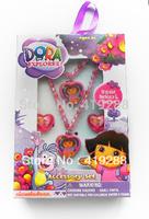 Children Jewelry Set hair accessories Dora Princess Pendant Necklace + Bracelet + Ring cute Gift Set