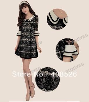 Clubwear Korean Women's Ladies Sexy Slim Fit 1/2 Half Sleeve Mini Lace Dress 2Colors free shipping 11027
