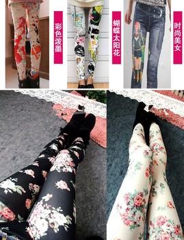 Free Shipping Rose Legging Spring Fall Lady Long Trousers Skinny Jeggings Fashion Black Printing Flower Pencil Pants Women