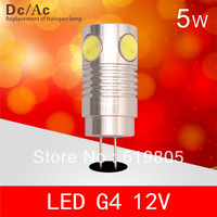 g4 led COB 5W 240LM Warm white/white Scattered light G4 Bulb Lamp High Lumen Energy Saving Ac&Dc 12V Free Shipping 10pcs/lot