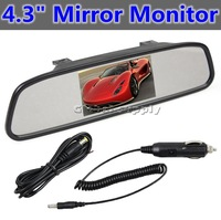 "4.3"" Car Vehicle Rearview Mirror Monitor  2ch Video Input DC 12V Car Monitor For DVD Camera VCR"