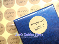 (1008pcs/lot) Kraft Round 'Thank you' Seal Sticker for DIY, Gift packing sticker wholesale