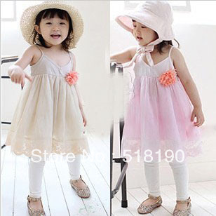 Free shipping- children's clothing Girl Dress with Pink Blossom Braces Bresses kids summer wear 5pcs/lot(China (Mainland))