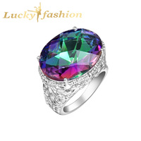 Fashion Silver mystic topaz silver rings 925 stamp jewelry free shipping LR0142