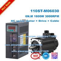 NEW  AC SERVO MOTOR & DRIVER SYSTEM   6N.M 1.8KW 3000RPM 110ST AC Servo Motor 110ST-M06030  + Matched Servo Driver