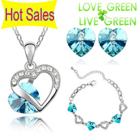 Free Shipping Hotselling Wholesales Austrian Crystal Double Heart Pendant Necklace Earrings 11 colors mixed Jewelry sets  9556