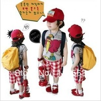 Free shipping-2013 new  arrive children clothing/boys set/kids suit/Short sleeve T-shirt + red plaid shorts  5set/lot