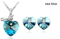 Free shipping Fashion multicolors heart austrian crystal jewelry sets for women AJS004
