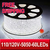 FREE SHIPPING 5M 300LEDs supper birght water proof 110V/120V 5050 SMD LED strip +1 US Power Plug/W/WW/R/G/B/Y(China (Mainland))