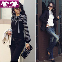 2013 New Year Fashion Women Stripe Pattern Apparel Turtleneck Bow Design t-shirt Blouse Free Shipping 12048