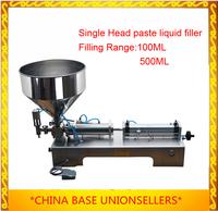 Free Shipping  piston paste filling machine semi filler pneumatic single head with Cylinder hopper 100ML 500ML