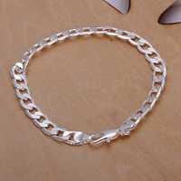 Wholesale 925 Silver Bracelets & Bangles,925 Silver Fashion Jewelry 6M flat sideways Bracelet Free Shipping SMTH245