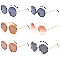 2014 New Fashion Women Round Sunglasses Shades Top Vintage Black  Leopard Sun glasses For Woman  High Quality Eyewear