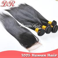 Brazilian Virgin Hair Straight,1pc Lace Closure Free Part With 4pc brazilian hair weave bundles Unprocessed Human Hair Extension