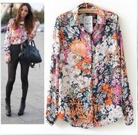 Blusas Femininas 2015 Chiffon Shirts Women Floral Print Vintage Long Sleeve Ladies Blouse Turn Down Collar Casual Tops Plus Size