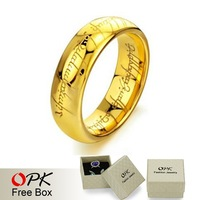 OPK JEWELRY Free Box! Hot Selling Classic Tungsten Lord of the God Rings 18K Gold Plated Jewelry  Size 7/8/9/10/11/12/13/14/15