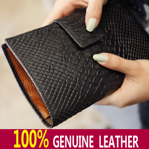 7 Colors 100% Genuine Leather Real women's Long section of the multi-card wallet Retro purse.fashion Clutch Bag Croco Crocodile*(China (Mainland))