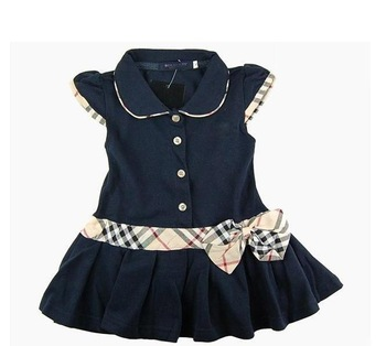 Retail wholesale Kids / Girls Brand Dresses Children Princess Dress New Summer 100%cotton Infant/Baby Polo Dress  Free Shipping
