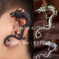 #098 Free Shipping New Gothic Punk Rock Black/ Silver/ Bronze Animal Dragon Ear Cuff Earrings For Men 24pcs/lot