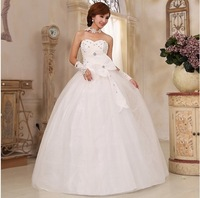 Free Shipping 2013 Newest Design Fashion  Bride Princess Rhinestone Pearl Bow Bandage  Wedding Dress