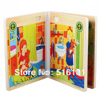 Free Shipping,Funny Puzzle Wooden Book,Puzzle Toys, Colorful 3D Story Books.Learning&Educational Toys