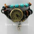 2013 ladies vintage Tibet turquoise Retro charm Prayer Wheel bracelet watch Rome women Genuine cow leather quartz wristwatches