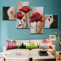 4 Panels Best 100% Quality Modern Handmade Oil Painting on canvas Home Decoration Picture Huge Art Abstract Flower pt145