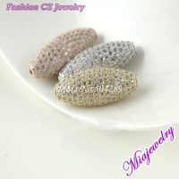 2014 New Style Free Shipping Fashion Jewelry Beads For Necklace Mix Color 3 pcs/lot 10.5*27 MM Mosaic  Zircon Copper Beads