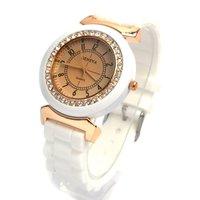Hot sales! 1PCS wholesale fashion Geneva rhinestone silicone sports quartz watch Women's dress watch gift Relogio feminino