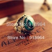 C091 Vintage Jewelry Men Women Bronze Landgrave Turquoise Stone Finger Ring Tail Rings