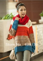 Free Shipping 2014 Autumn and Winter Woman Casual Loose Pullover Cutout Color Shirt Female Knitting Sweater
