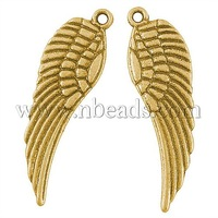Tibetan Style Pendants,  Lead Free and Cadmium Free,  Wing,  Antique Golden,  Size: about 30mm long,  9mm wide,  1.5mm thick