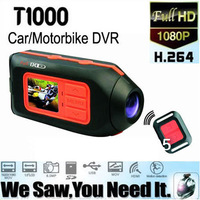 2013 Hot Full HD1920*1080P H.264 T1000 Car DVR,Motorbike Video Camcorder,Sport Helmet Camera Vehicle DVR Remote Control