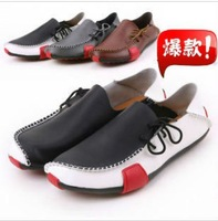 Mens Casual Shoes Genuine Leather Driving Moccasins Slip On White Brown Grey New Free shipping