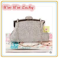 2014 New Women's Luxury Handbag Bridal Party Full Diamond Sequins Clutch Evening Bag. Lady Chain Messenger Bag Black Gold Silver