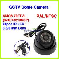 Freeshipping Surveillance Color CMOS 700TVL 24 IR LEDs Night Vision 3.6mm IR Indoor Security Mini Dome CCTV Camera Color Box